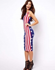 Red American Flag Pattern Long Dress
