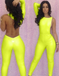 Yellow One Long Sleeve Jumpsuit