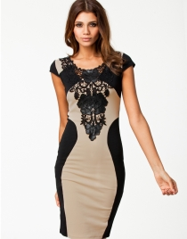 Sexy Patchwork Midi Bodycon Dress with Appliques