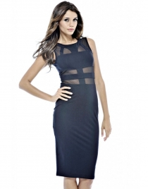 Black Mesh Insert Hollow Out Midi Dress