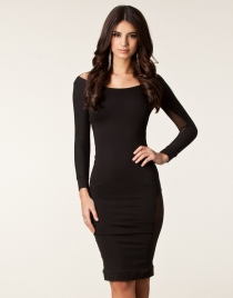 Black Mesh Patchwork Backless Midi Party Dress
