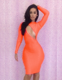Orange Sheath Dress with Keyhole Back