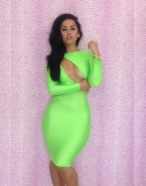 Green Sheath Dress with Keyhole Back