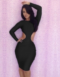 Black Open Back Sheath Dress