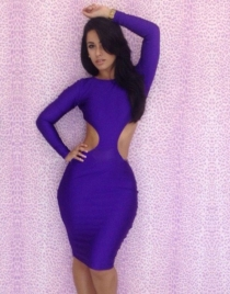 Purple Open Back Sheath Dress