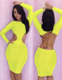 Yellow Open Back Sheath Dress