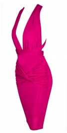 Fuchsia Pink Low Cut Front and Criss Cross Back Dress