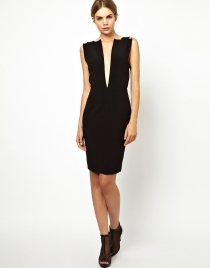 Black Sleeveless Low Cut  Clubwear