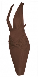 Coffee Low Cut Front and Criss Cross Back Dress