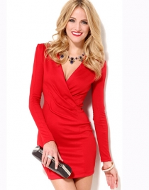 Brief Red Long Sleeve Dress