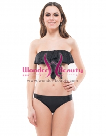 Black Strapless Bikini with Ruffle Strim