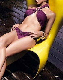 Burgundy Halter Swimwear