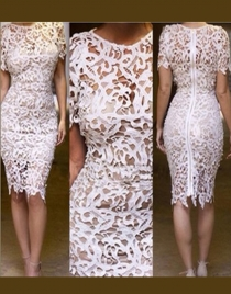 Hot White Hollow Out Dress