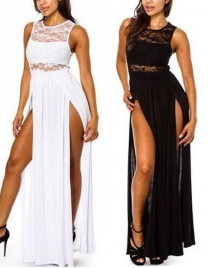 Plus Size White/Black Laced Double Slit Maxi Dress