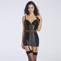 Sexy PVC Faux Leather Lingerie Nightwear