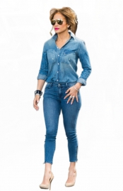 Fashionable Cowboy Blue Denim Turtleneck Jumpsuit