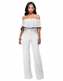 Sexy White Turndown Shoulder Jumpsuits
