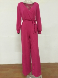 Red V Neck Long Sleeve Loose Jumpsuit with Belt