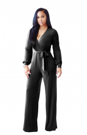 Black V Neck Long Sleeve Loose Jumpsuit with Belt
