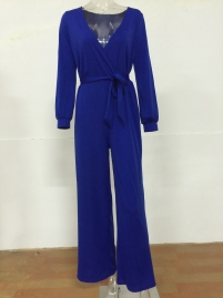 Blue V Neck Long Sleeve Loose Jumpsuit with Belt