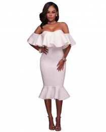 White  Flounced Off Shoulder Bodycon Midi Dress