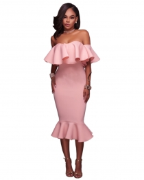 Pink Flounced Off Shoulder Bodycon Midi Dress