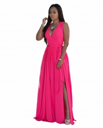Rose V Neck Sleeveless Maxi Dress with Belt