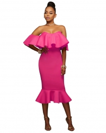Rose Flounced Off Shoulder Bodycon Midi Dress