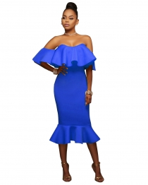 Blue Flounced Off Shoulder Bodycon Midi Dress
