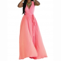Pink V Neck Sleeveless Maxi Dress with Belt