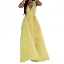 Yellow  V Neck Sleeveless Maxi Dress with Belt