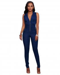Sexy Blue sleeveless Jumpsuits