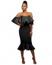 Black Flounced Off Shoulder Bodycon Midi Dress
