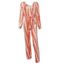 Print Jumpsuit with Long Sleeves