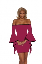 Wine Red Sexy Off-Shoulder Mini Dress