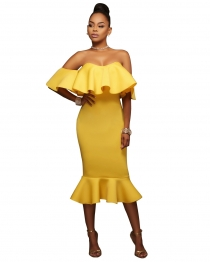 Yellow Flounced Off Shoulder Bodycon Midi Dress