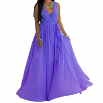 Purple V Neck Sleeveless Maxi Dress with Belt