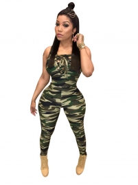 Camouflage Sexy  Plunging  Jumpsuit