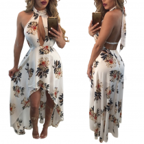 Sexy Backless Flower Maxi Dress