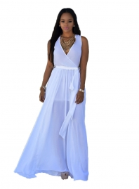 White V Neck Sleeveless Maxi Dress with Belt
