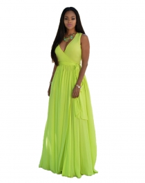Green V Neck Sleeveless Maxi Dress with Belt