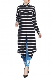 Casual stripe Long Sleeves Dress with Collar