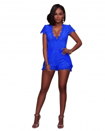 Blue Lace Sexy Fitting Rompers