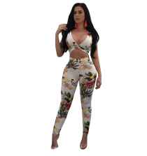Sexy Floral Waist Cutout Backless Tight Jumpsuit