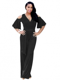 Black Sexy V-Neck Women Loose Jumpsuit
