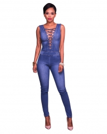 Lace-up Bust Sleeveless Tight Denim Jumpsuit