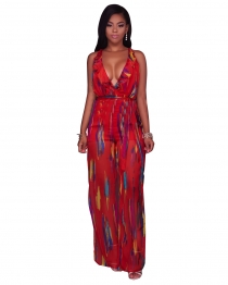 Colorful Print Red Backless Side Slit Chiffon Jumpsuit