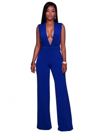Sexy V-Neck Solid Blue Women Long Jumpsuit