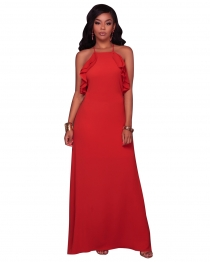 Sexy Red Sleeveless Maxi Dress with Belt