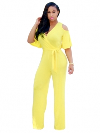 Solid Yellow Fashion Women Jumpsuit